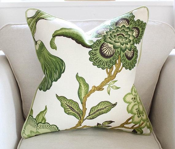Schumacher Hot House Green And White Flowers Pillow Cover