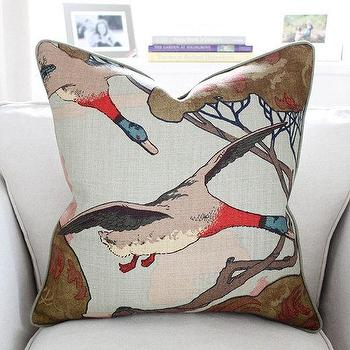 Mulberry Flying Ducks Pillow Cover in Sky by PinkandPiper I Etsy