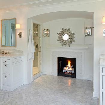Master Bathroom Fireplace, Transitional, bathroom, Burns and Beyerl Architects