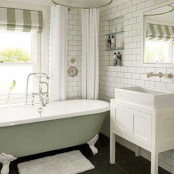 White and Green Bathroom, Vintage, bathroom, Leivars