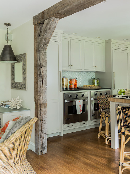 Wood Support Beams ~ Maple cabinets design ideas