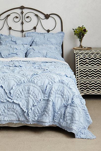 Rivulets Blue Ruffled Quilt