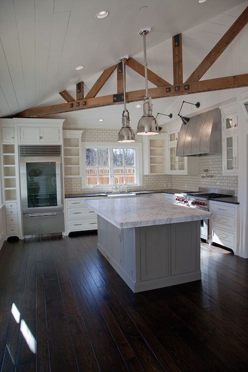Exposed Wood Beams Transitional Kitchen Christine
