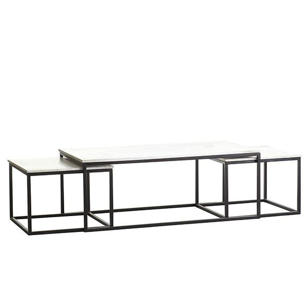 Set of nesting white and grey coffee tables for White nesting coffee table