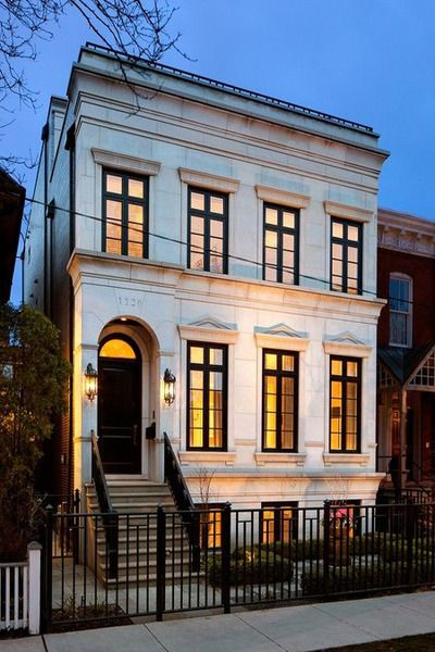 French limestone home french home exterior for Townhouse architecture designs