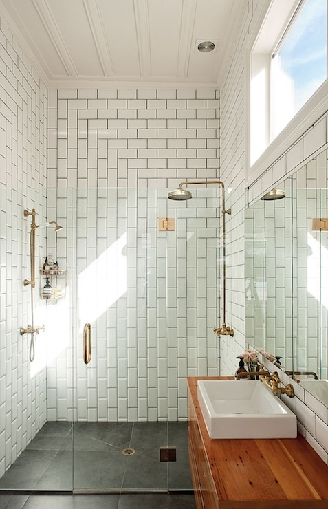 Subway tile patterns modern bathroom urbis magazine - Faience petite salle de bain ...