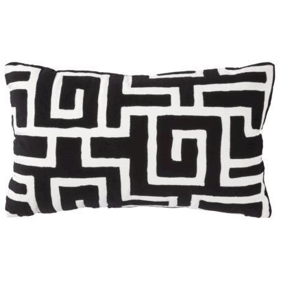 Threshold Black White Maze Decorative Pillow