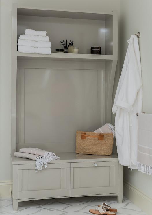 Gray Storage Bench Contemporary Bathroom Venegas And