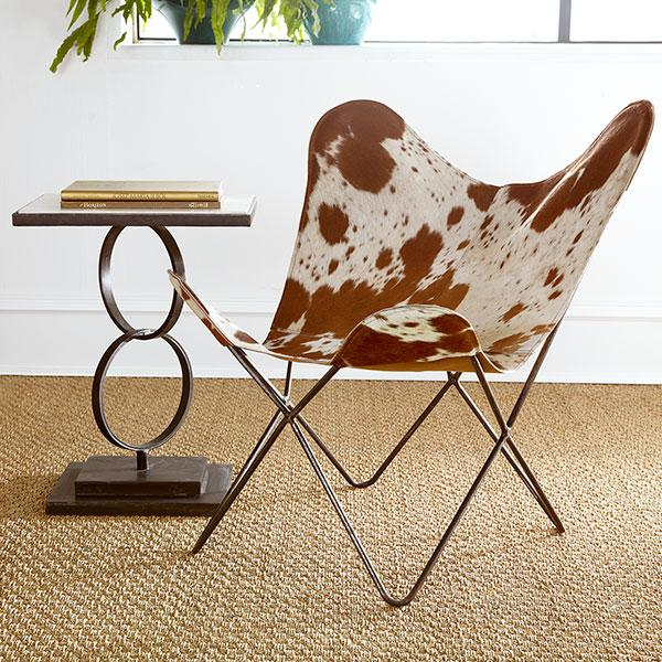 Cowhide Brown and Ivory Butterfly Chair - Curator Cowhide Chair