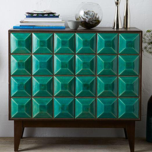Teal Furniture chowdhary teal tiled buffet