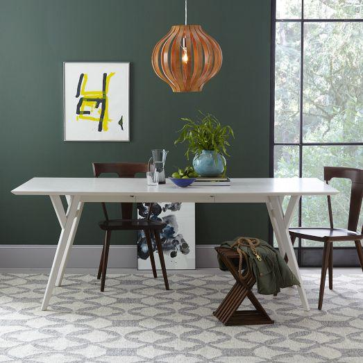 Beau Parker Mid Century White Expandable Dining Table