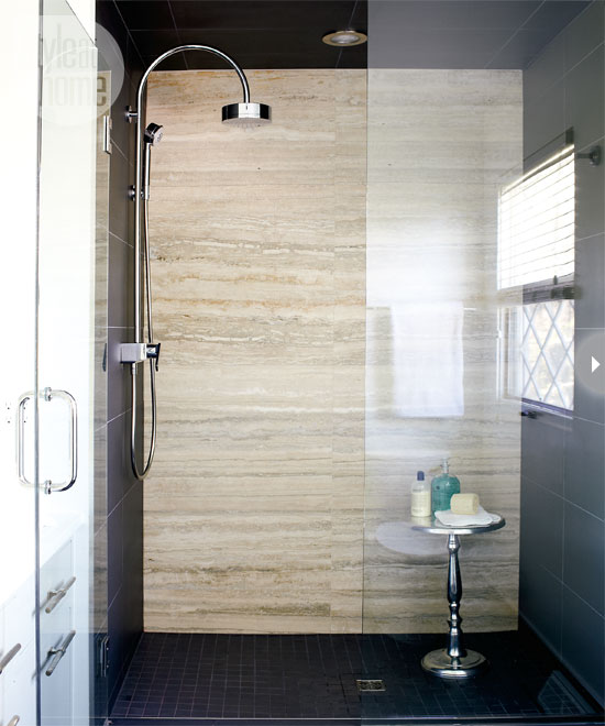 Contemporary Bathroom With Frameless Glass Shower Highlighting The Large  Shower With Gray Tiled Side Walls And Floor Alongside A Travertine Slab  Back Wall.