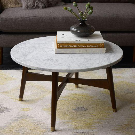 White Marble Coffee Table Set: Reeve Mid-Century Grey And Brown Coffee Table