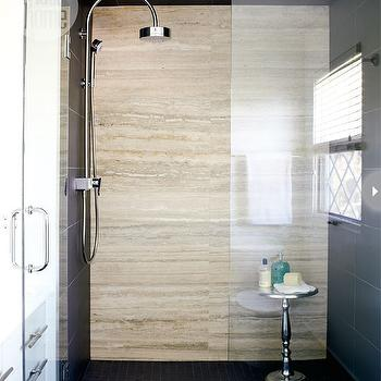 Travertine Shower Tiles, Contemporary, bathroom, Style at Home