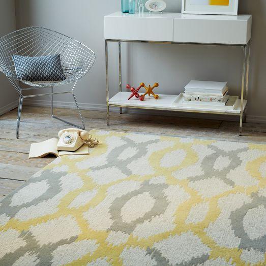Yellow And Grey Ikat Links Wool Rug