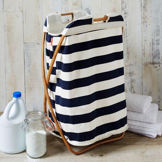 Bamboo Laundry Navy And White Stripe Single Hamper