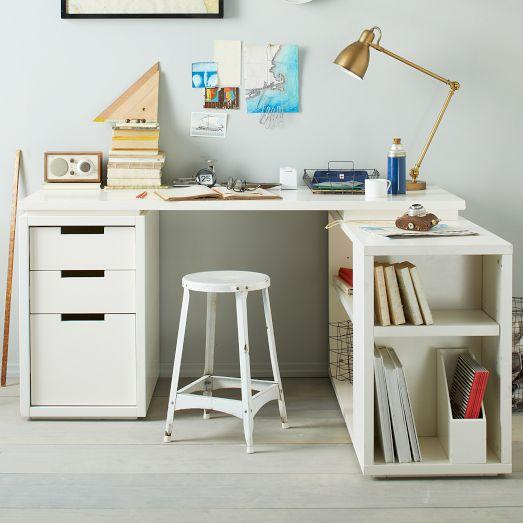 Modular Office L Shaped White Desk Set