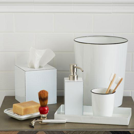 Enamel white bath accessories for Bathroom accessories with tray