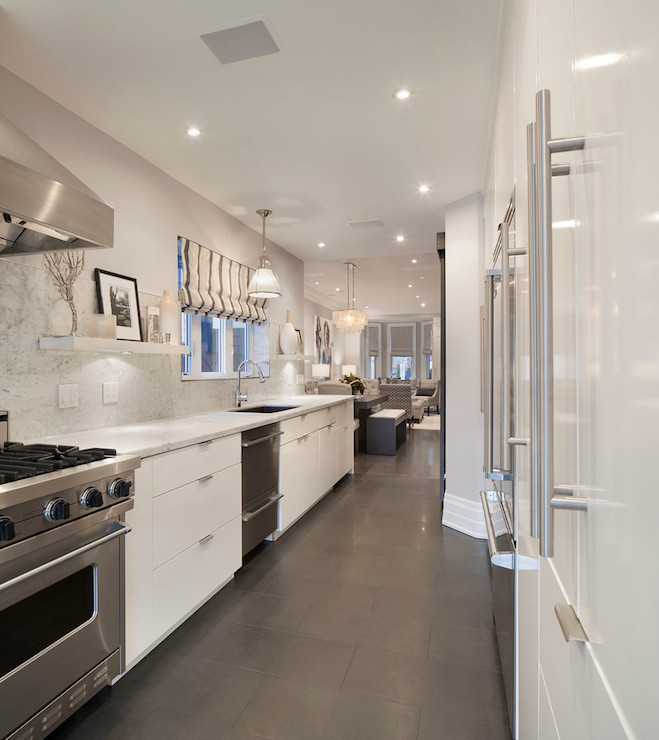 White Galley Kitchen galley kitchen ideas - contemporary - kitchen - ruby photo studio