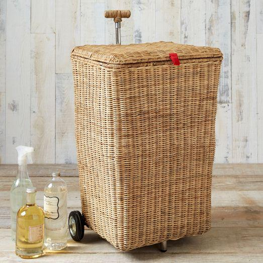 Tan wicker laundry cart for Laundry room baskets with wheels