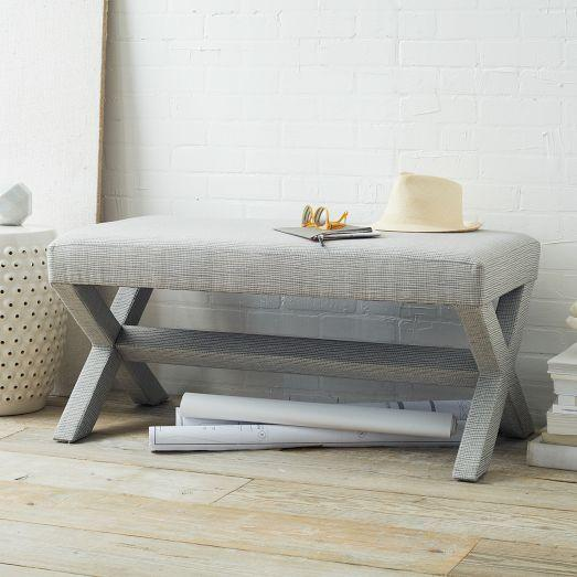 Cross Base Grey Upholstered Bench