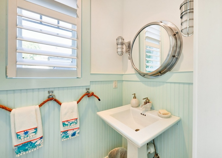 Seafoam green bathroom cottage bathroom martha stewart for Beach inspired bathroom designs
