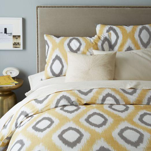 Organic Ikat Yellow And Grey Diamond Duvet Cover And Shams