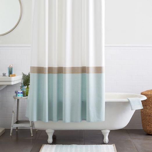 teal striped shower curtain. Horizon Stripe Blue and White Shower Curtain