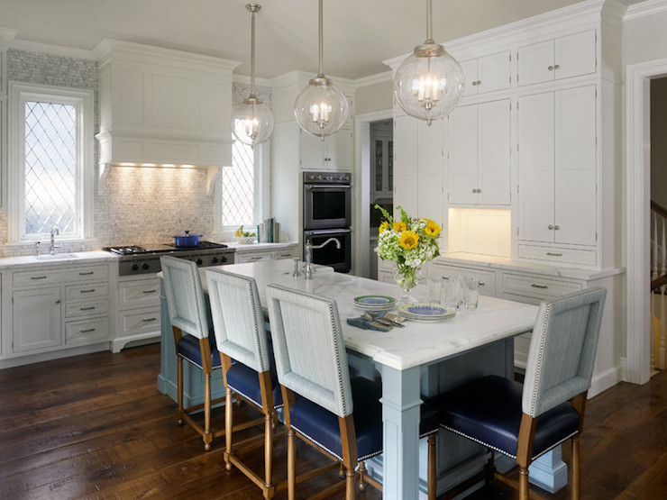 Kitchen island dining table transitional kitchen for Kitchen island dining table