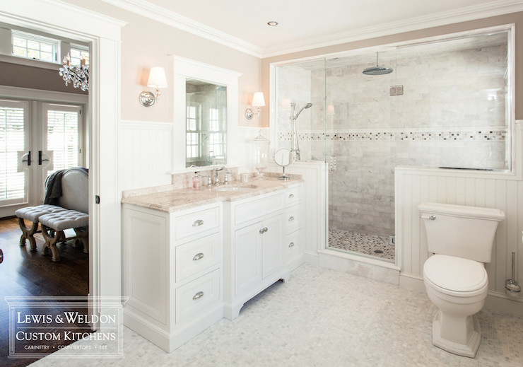 Pink marble transitional bathroom lewis and weldon for White and pink bathroom ideas