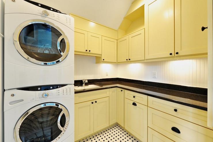 yellow laundry room doors design ideas