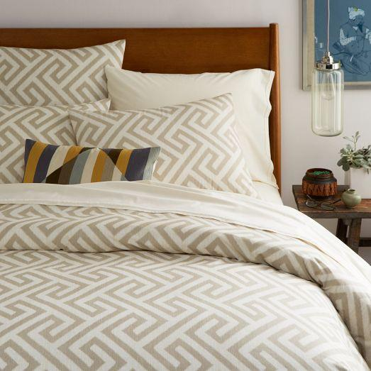 Organic Taupe And Ivory Ikat Key Duvet Cover And Shams