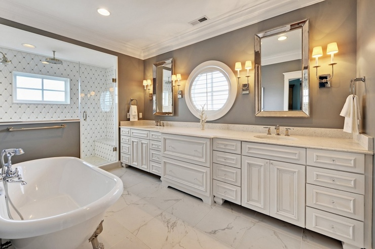 White and Grey Bathroom - Contemporary - bathroom - Echelon Custom ...