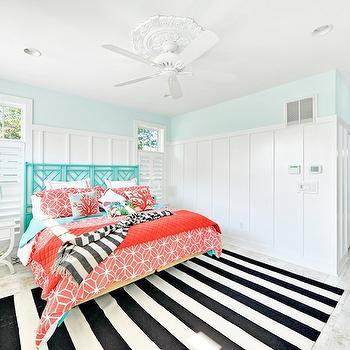 Black and White Striped Rug, Cottage, bedroom, Echelon Custom Homes