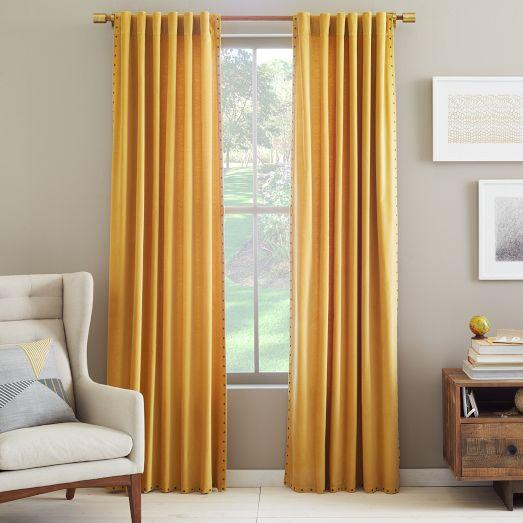 Velvet Nailhead Yellow Curtain