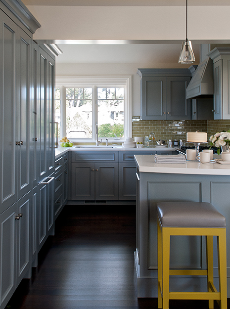 Blue and yellow kitchen design ideas for Yellow and gray kitchen