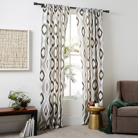 cotton canvas grey and brown ikat diamond curtain. Black Bedroom Furniture Sets. Home Design Ideas