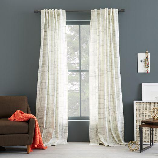 Cotton Canvas Black Eyelet Lined Curtain: Cotton Canvas Grey And White Printed Curtain