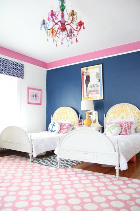 Navy blue headboard contemporary girl 39 s room alisha gwen for Pink and blue girls bedroom
