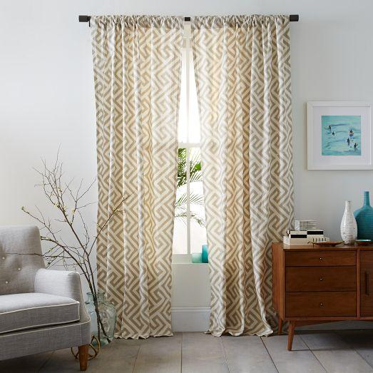 Jute Ikat Curtain Panel Aqua Window Panels Cost Plus