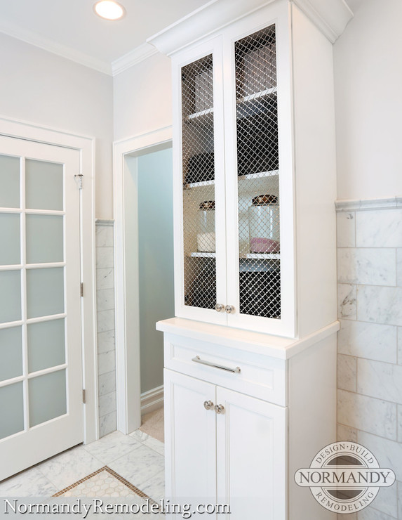 Chicken Wire Cabinets - Transitional - bathroom - Normandy Remodeling