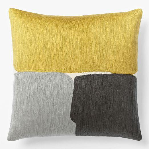 steven alan abstract crewel grey and yellow pillow cover. Black Bedroom Furniture Sets. Home Design Ideas