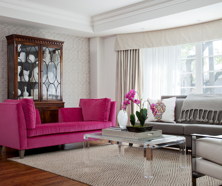 Pink and gray living room transitional living room for Gray and pink living room ideas