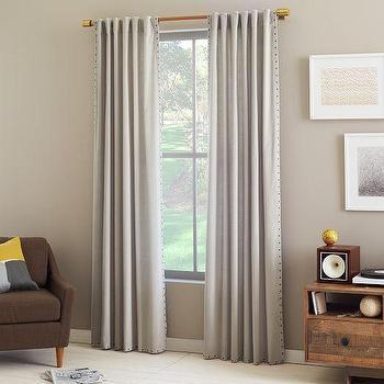 Velvet Nailhead Curtain, Putty, west elm