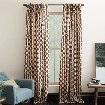 Rhombi Flocked Curtain, west elm