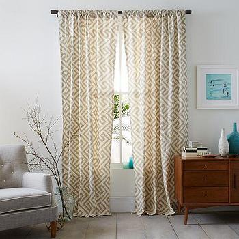 Cotton Canvas Taupe Ikat Key Curtain