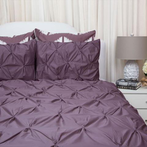 Plum Purple Duvet Cover Set The Valencia Purple Pintuck