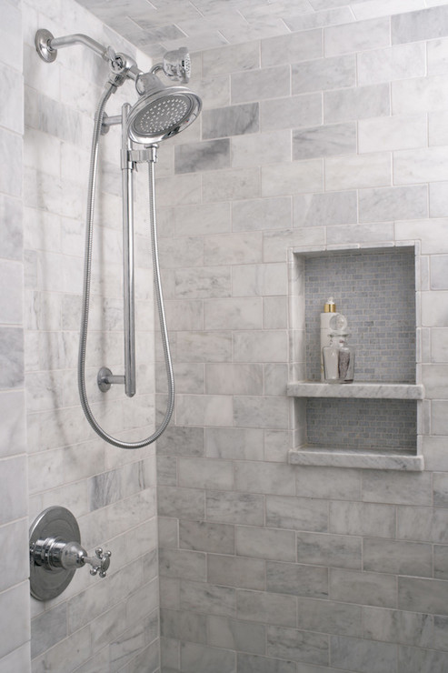 Grey Marble Bathroom Ideas : Shower with gray subway tiles transitional bathroom