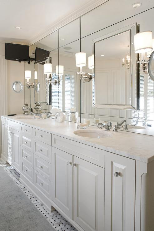 White Master Bathroom TV Ideas - Master bathroom sconces