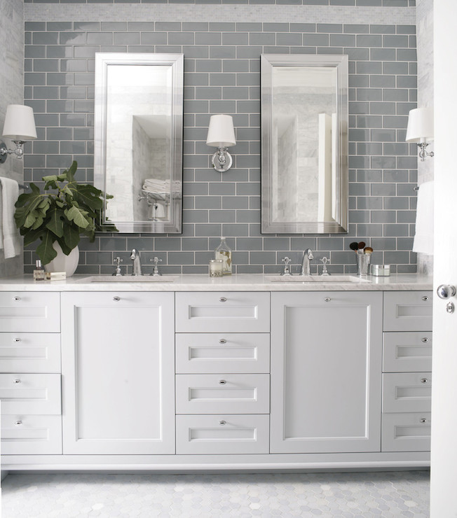 Beveled subway tile backsplash contemporary bathroom ferreira design - Bathroom subway tile backsplash ...